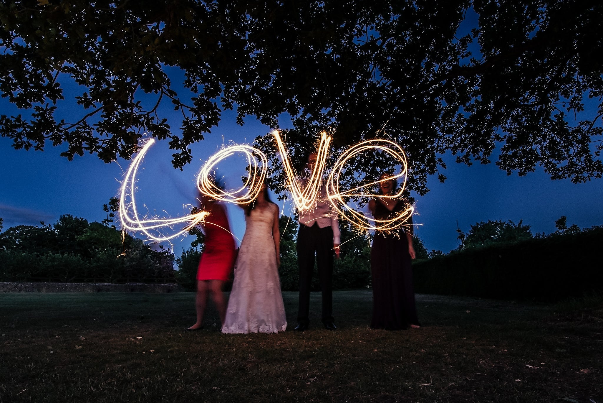 'Love' spelt out with sparklers