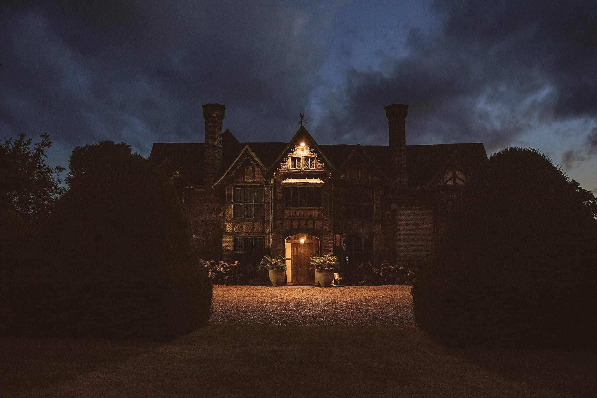Night time view of Dorney Court Manor House