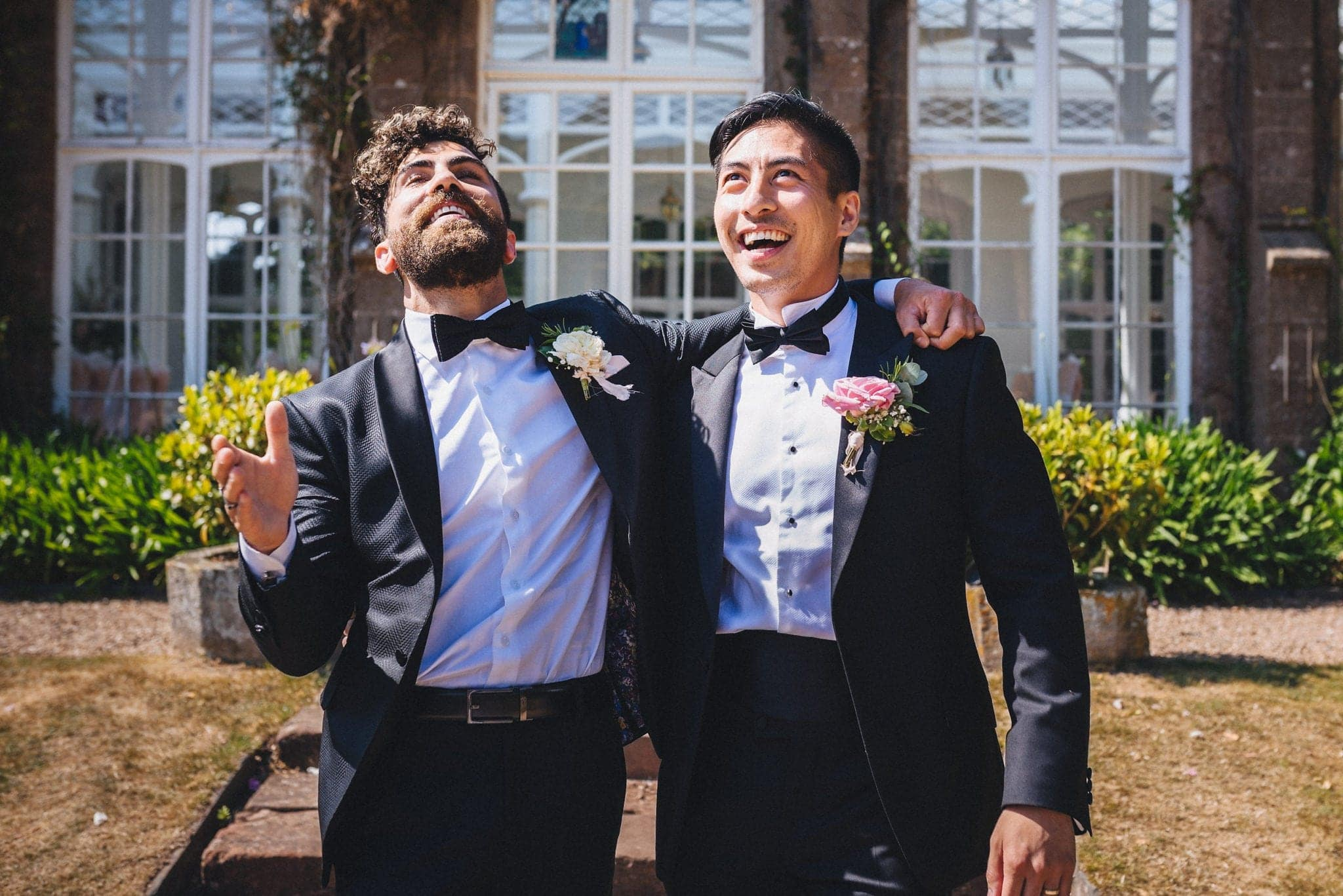 Groom and his best man goofing around