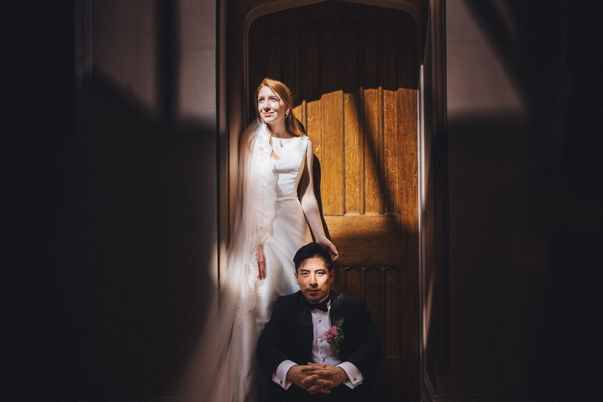 Dramatic Portrait of the Bride and Groom at St Audries Park